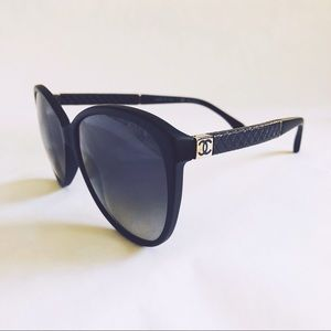 CHANEL 5225Q CATEYE LEATHER TRIM SUNGLASSES